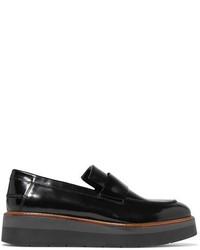 Vince Dorsey Glossed Leather Platform Loafers Black