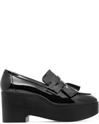 Ruffled patent leather platform loafers black medium 6834096