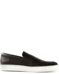 Black Leather Plimsolls