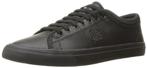 4e887c24a9 Kendrick Tipped Cuff Leather Fashion Sneaker. Black Leather Plimsolls by Fred  Perry