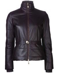 Black Leather Puffer Jacket