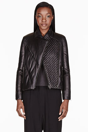 Official Website discount collection better price $1,425, Helmut Lang Black Leather Cropped Pitch Puffer Jacket