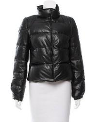 Leather puffer jacket medium 5375615