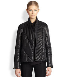 Helmut Lang Pitch Leather Puffer Coat