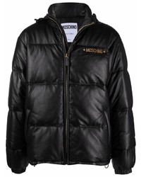 Moschino Quilted Down Feather Leather Jacket