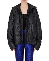Quilted leather puffer coat medium 5375614