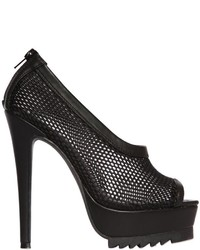Nasty Gal 140mm Bernese Mesh Faux Leather Pumps
