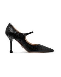 Prada 90 Croc Effect Leather Mary Jane Pumps