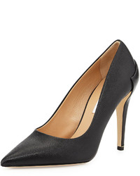 Diane von Furstenberg Betty Leather Combo Pointy Toe Pump Black