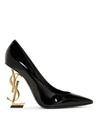 Saint Laurent Black And Gold Patent Opyum Heels