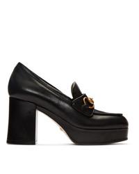 Gucci Black Houdan Horsebit 85 Heels