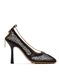 Bottega Veneta Black Net Chain Heels