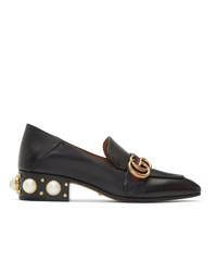 Gucci Black Peyton Pearl Loafer Heels