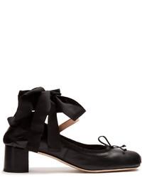 Miu Miu Block Heel Leather Ballet Pumps