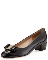 Salvatore Ferragamo Bow Patent Leather Pump Nero