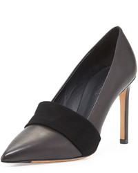 Vince Carmel Leather Suede Band Pump Black
