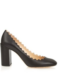 Chloé Chlo Lauren Scallop Edged Block Heel Leather Pumps