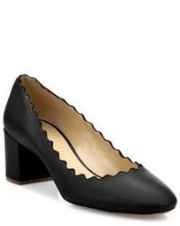Chloé Chloe Leather Scalloped Leather Block Heel Pumps