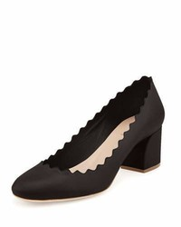 Chloé Chloe Scalloped Leather Pump Black