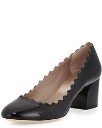 Chloé Chloe Wavy Patent Ballerina Pump Black