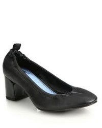 Lanvin Cube Heel Leather Ballet Pumps