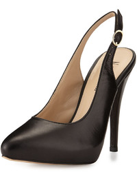 Neiman Marcus Gearal Leather Slingback Pump Black