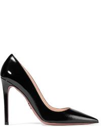 Prada Glossed Textured Leather Pumps Black