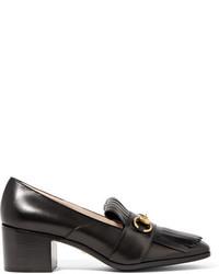 Gucci Horsebit Detailed Fringed Leather Pumps Black