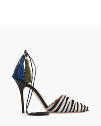 J.Crew Collection Roxie Zebra Calf Hair Ankle Tie Pumps