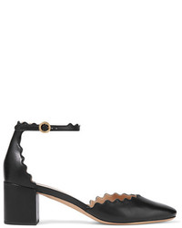 Chloé Lauren Scalloped Leather Pumps Black