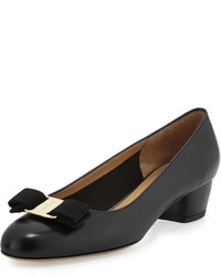 Salvatore Ferragamo Leather Bow Pump Nero