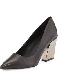 Charles David Leather Chunky Heel Pump Black