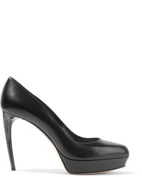 Alexander McQueen Leather Platform Pumps Black