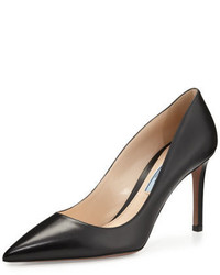 Prada Leather Pointed Toe 85mm Pump Black