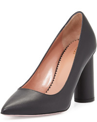 RED Valentino Leather Pointed Toe Cylinder Heel Pump Black