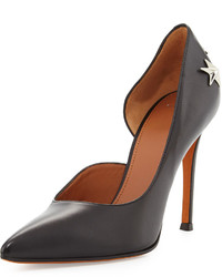 Givenchy Leather Star Stud Half Dorsay Pump Black