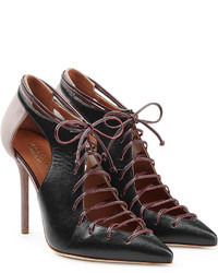Malone Souliers Suede And Leather Lace Up Pumps With Cut Outs