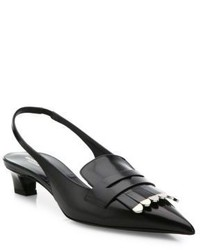 Michael Kors Michl Kors Collection Lucie Runway Kilt Spazzolato Leather Slingback Pumps