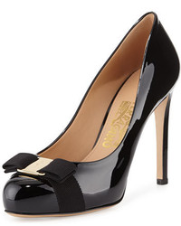 Salvatore Ferragamo Patent Bow Pump Nero