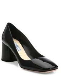 Prada Round Block Heel Patent Leather Pumps