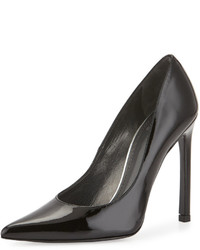Stuart Weitzman Queen Patent Pointed Toe Pump Black