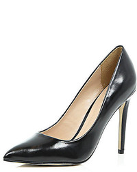 River Island Black Leather Pumps