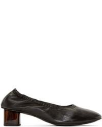 Robert Clergerie Black Leather Pocket Heels