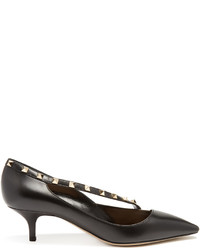 Valentino Rockstud Crossover Strap Leather Pumps