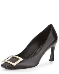 Roger Vivier Belle Vivier Trompette Leather 70mm Pump Black