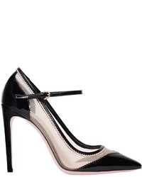 Salvatore Ferragamo 105mm Erika Mesh Patent Leather Pumps