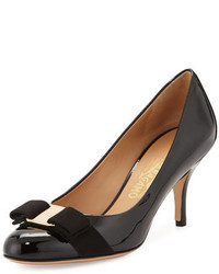 Salvatore Ferragamo Carla Patent Bow Pump Black