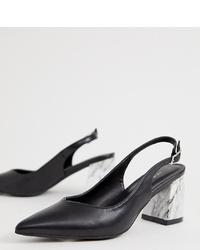 New Look Slingback Marble Heel In Black