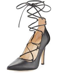 Neiman Marcus Tallen Leather Ballerina Pump Black