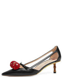 Gucci Unia Cherry Leather 45mm Pump
